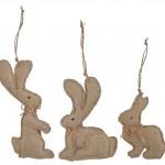 Dekorativní zajíček Rabbit, velikonoční dekorace zajíčka ušitého z jutového plátna