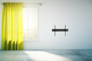 Blank white wall yellow curtain